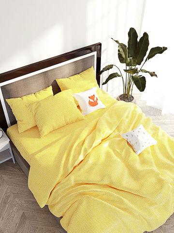 Простынь на резинке  -Желтая клеточка- натяжная 180х200х26 см евро