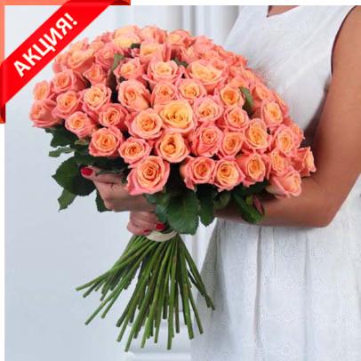 Букет 51 персиковая роза Мисс Пигги акция