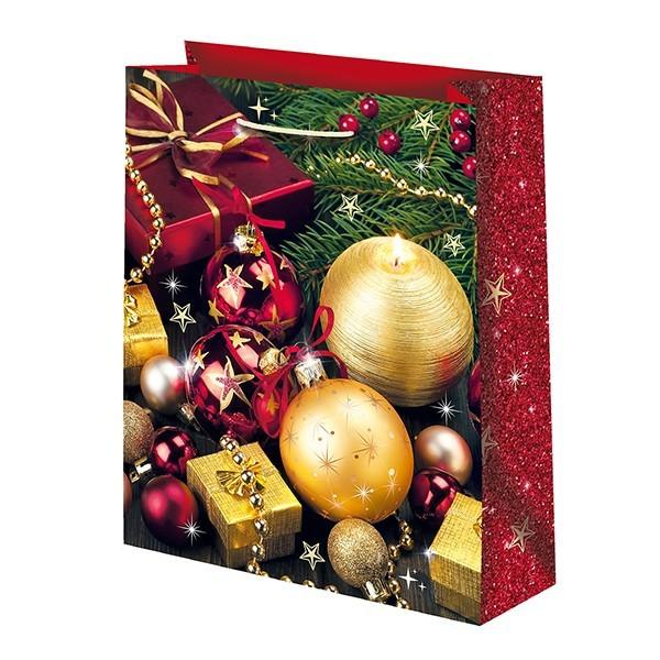 Новогодний подарочный пакет Красно-золотые шары (средний)