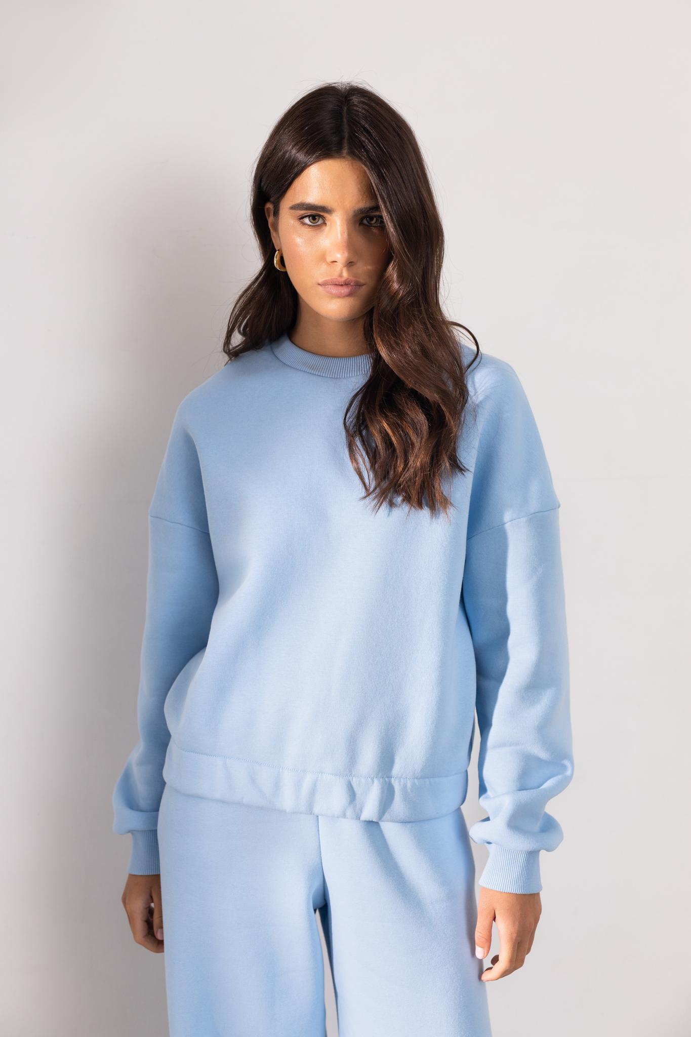 Костюм: свитшот и широкие брюки из футера (голубой)