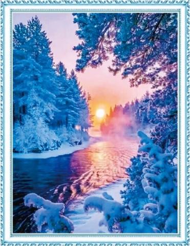 Алмазная Мозаика 50x65 Речка зимой