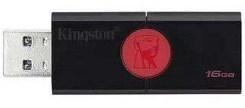 USB флэш-диск Kingston 3.0 16GB DataTraveler DT106 чёрный/красный