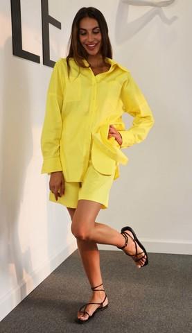 Шорты с акцентными карманами в цвете манго- компаньон к рубашке