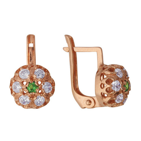 Серебряные серьги с фианитами и позолотой