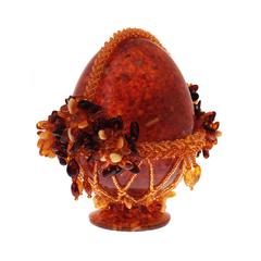 Сувенирное Пасхальное яйцо (натуральный янтарь, бисер), АВ-0745