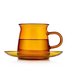 Чайная пара из цветного стекла, янтарная- чашка 200 мл с блюдцем в скандинавском стиле Teastar