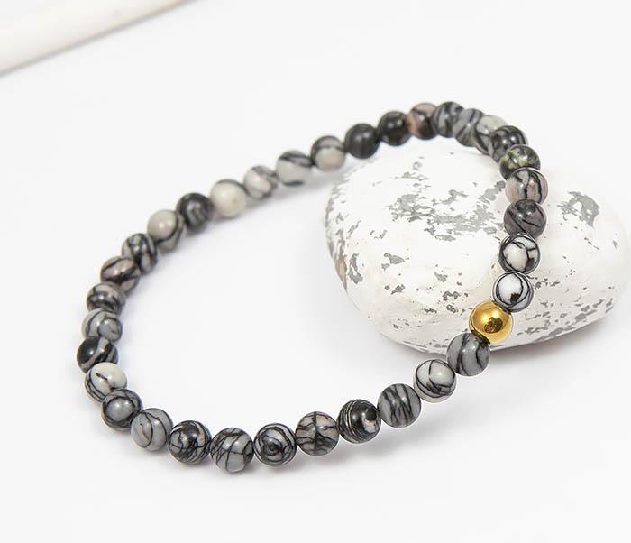 BS760 Мужской браслет из серого камня агата с золотистой бусиной