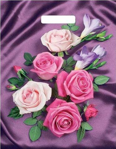 Пакет ПЭ с вырубной ручкой 31х40 (60)  Т ламинация (Атласные розы)