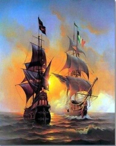 Алмазная Мозаика 30x40 Корабли в открытом море (арт. S3290)