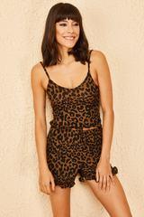 Qadın üçün fırfırlı Leopard pijama  10061017