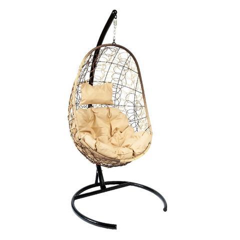 Подвесное кресло Z-02 (1), цвет светло-коричневый, подушка – бежевая, каркас – черный