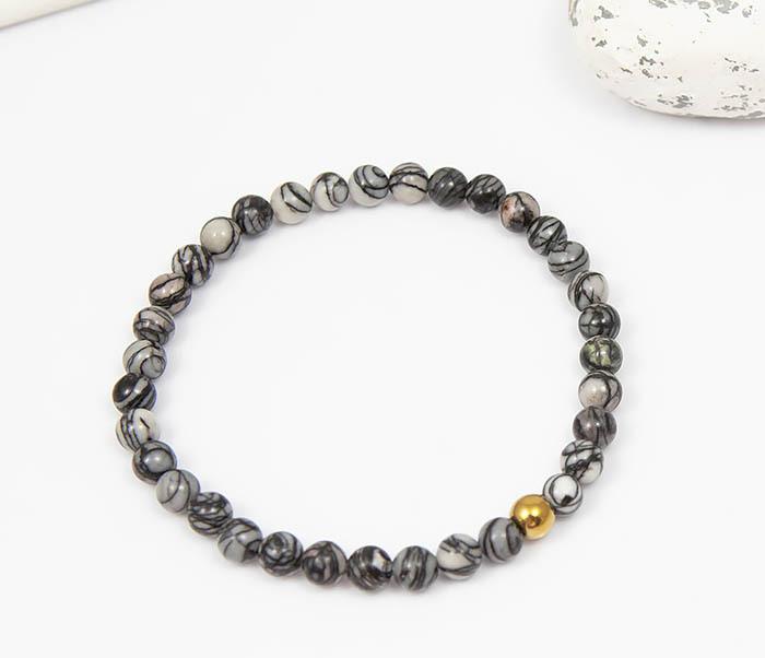 BS760 Мужской браслет из серого камня агата с золотистой бусиной фото 02
