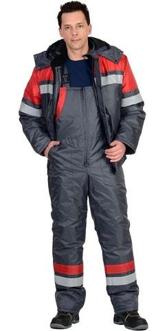 Костюм зимний: куртка кор., п/комб. серый с красным и СОП