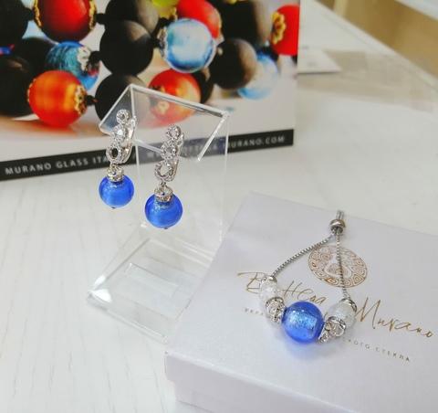 Комплект из браслета и серег со стразами Sandra ярко-голубой цвет FA056