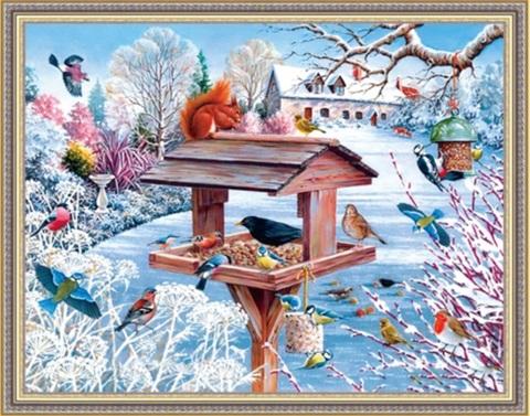 Алмазная Мозаика 50x65 Птицы у кормушки зимой