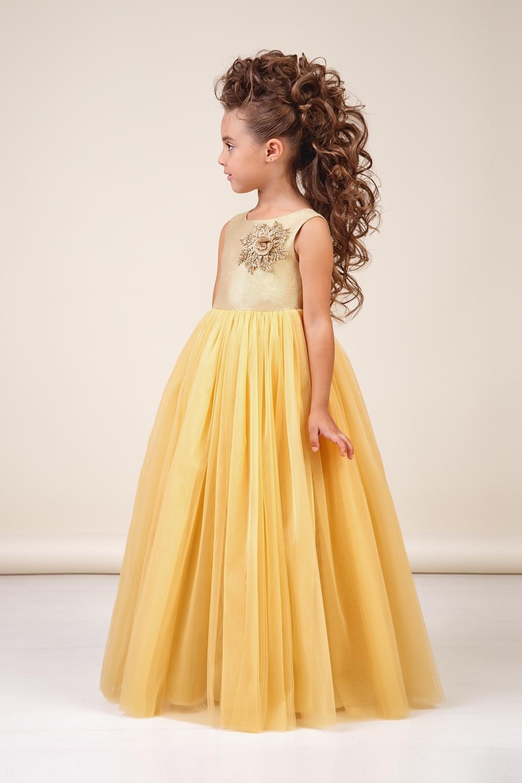 Платье золотистое для девочки 38-8038-1