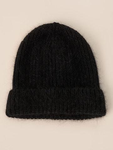 Женская шапка черного цвета из ангоры - фото 2