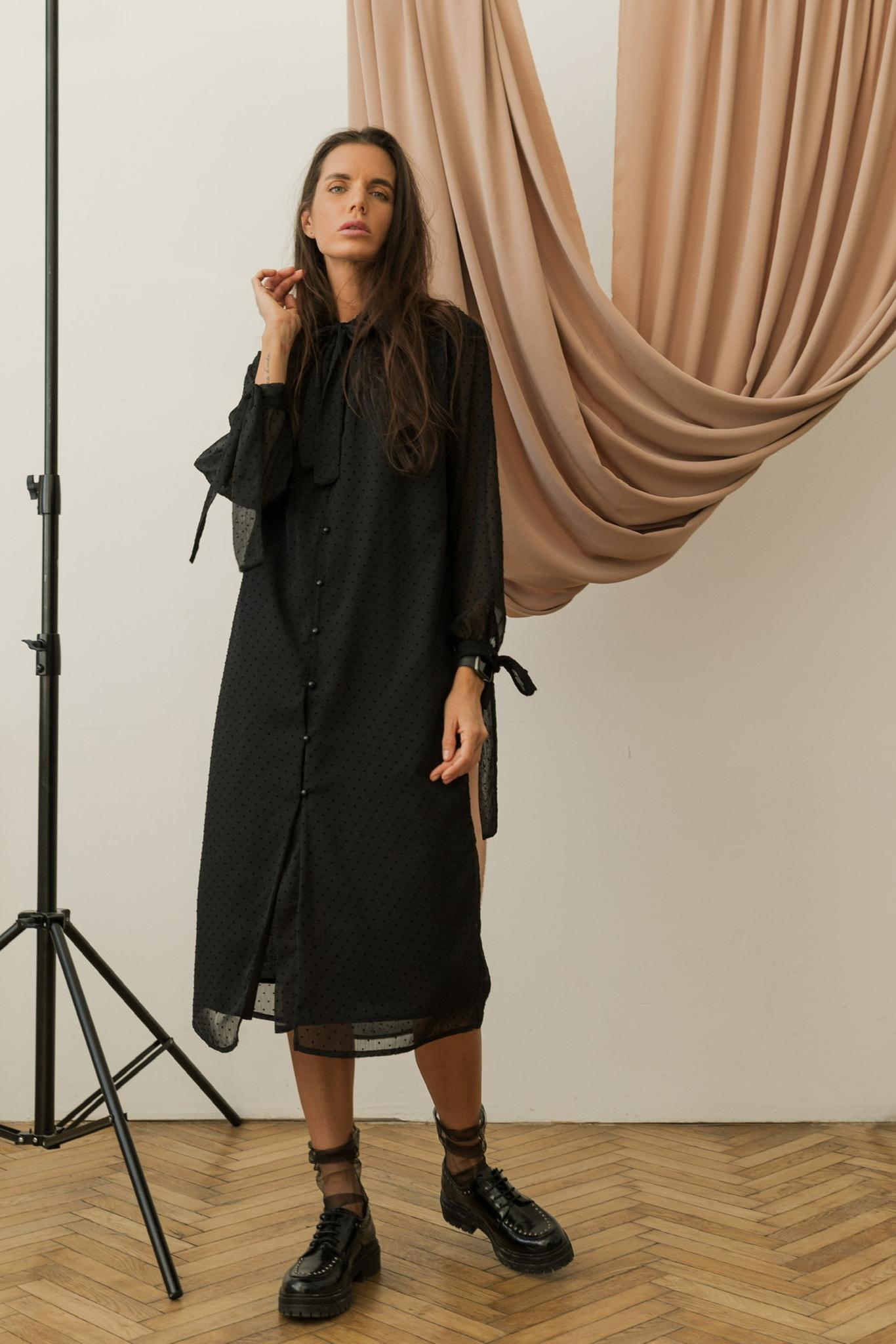 Платье из шифона с завязками, черный