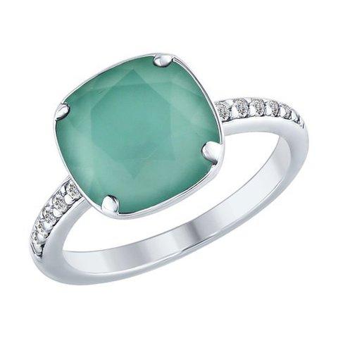 94012433 - Кольцо из серебра с мятным кристаллом SWAROVSKI
