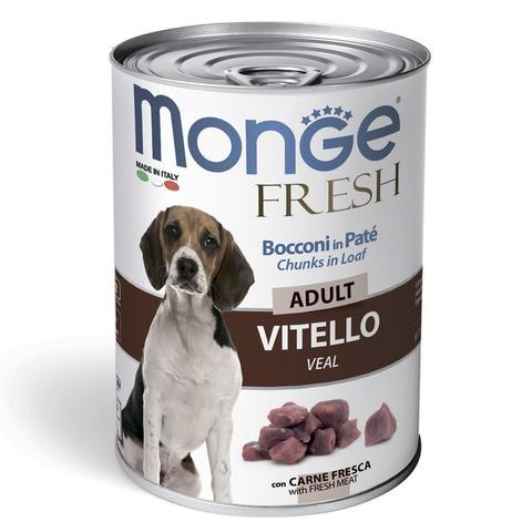 Monge Dog Fresh Chunks in Loaf Консервы для собак мясной рулет из телятины (банка)