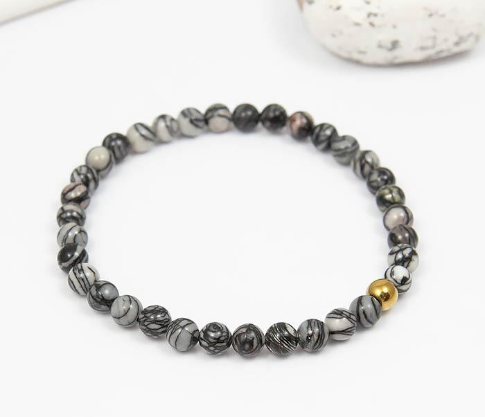 BS760 Мужской браслет из серого камня агата с золотистой бусиной фото 03