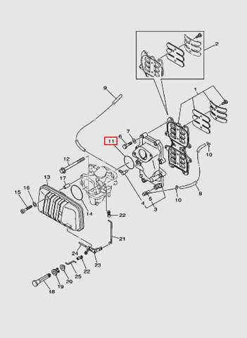 Кольцо-прокладка карбюратора для лодочного мотора T40 Sea-PRO (4-11)