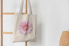 Сумка-шоппер с принтом Цветы (Герберы) бежевая 001