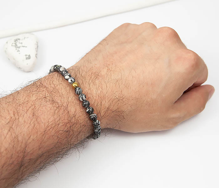 BS760 Мужской браслет из серого камня агата с золотистой бусиной фото 04