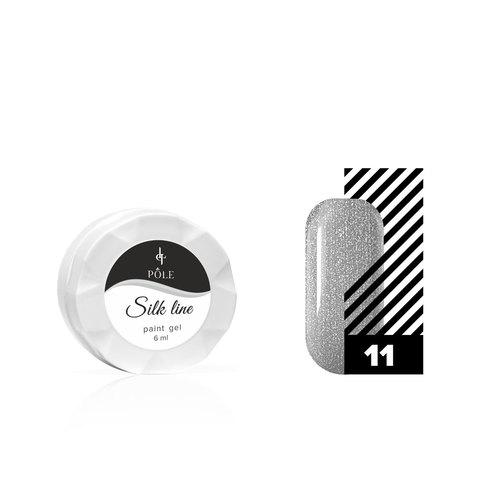 Гель-краска для тонких линий POLE Silk line №11 серебряный металлик (6 мл.)