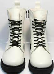 Белые ботинки на шнуровке женские зимние Ari Andano 740 Milk Black.