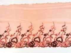 Вышивка на сетке, ЛЕВАЯ, 19 см, оранжевый/коричневый,(Артикул: VS-1029), м