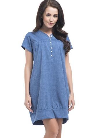 Платье-сорочка с коротким рукавом из хлопка