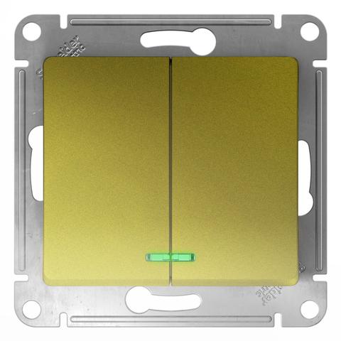Выключатель двухклавишный с подсветкой, 10АХ. Цвет Фисташковый. Schneider Electric Glossa. GSL001053