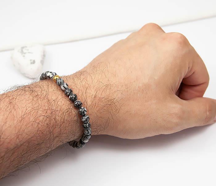 BS760 Мужской браслет из серого камня агата с золотистой бусиной фото 05