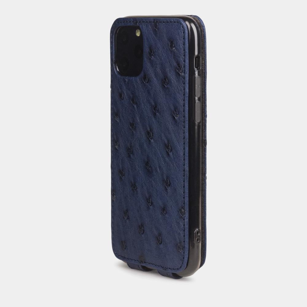 Special order: Чехол для iPhone 11 Pro из натуральной кожи страуса, синего цвета
