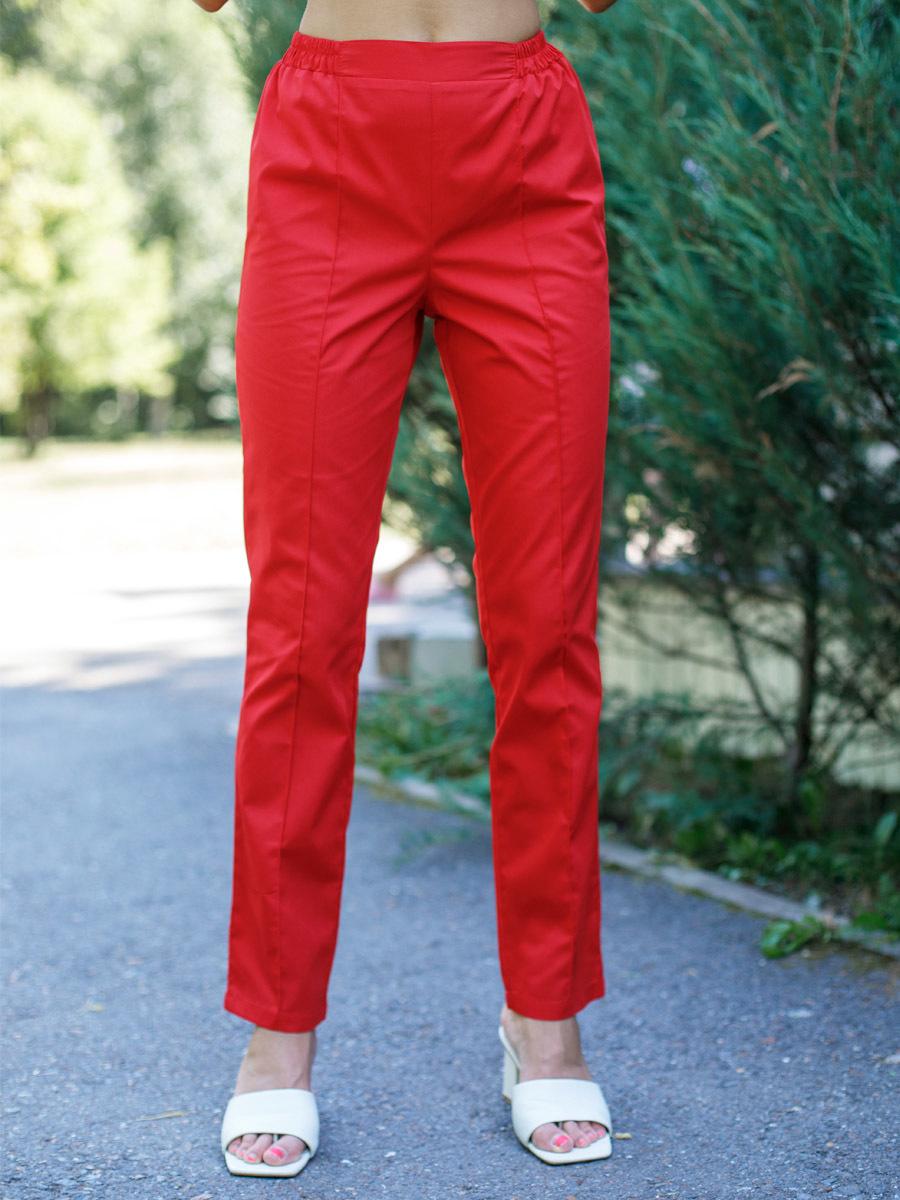 Купить женские красные брюки медицинские|MediS.moda Б-101/2 Клеон проф