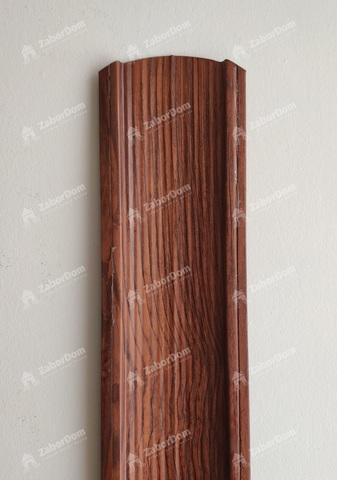 Евроштакетник металлический 110 мм Темное дерево 3D фигурный двусторонний 0.5 мм