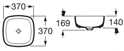 Раковина накладная Roca Inspira Soft 37 х 37