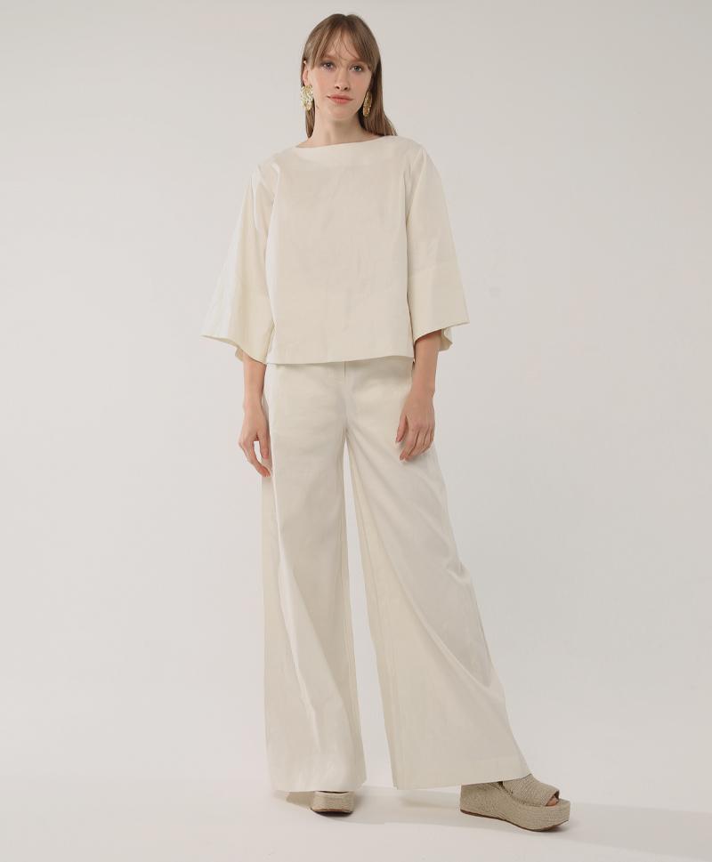 Широкие брюки молочного цвета