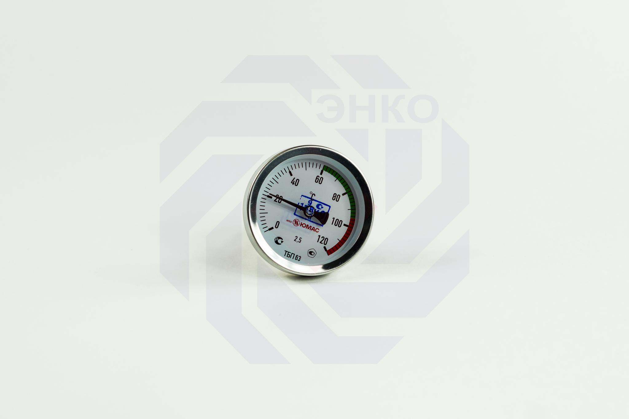Термометр биметаллический аксиальный ЮМАС ТБП63/50/Т 0-120 °С 63 мм ½