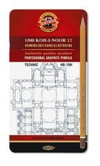 Набор чернографитных карандашей 1502 TECHNIC HB-10H, 12шт, металл.коробка
