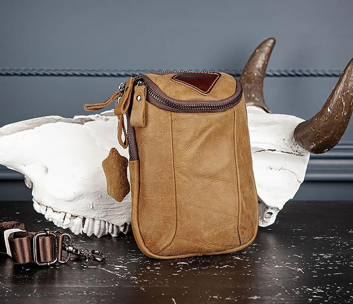 BAG517-2 Поясная сумка из натуральной кожи песочного цвета