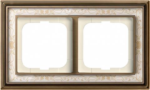 Рамка на 2 поста. Цвет Латунь античная, белая роспись. ABB(АББ). Dynasty(Династия). 1754-0-4591