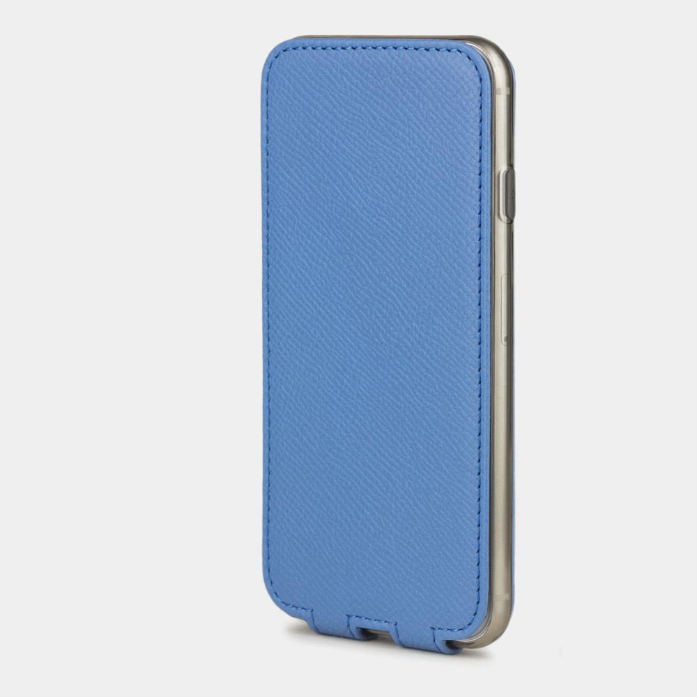 Чехол для iPhone 7 из натуральной кожи теленка, голубого цвета