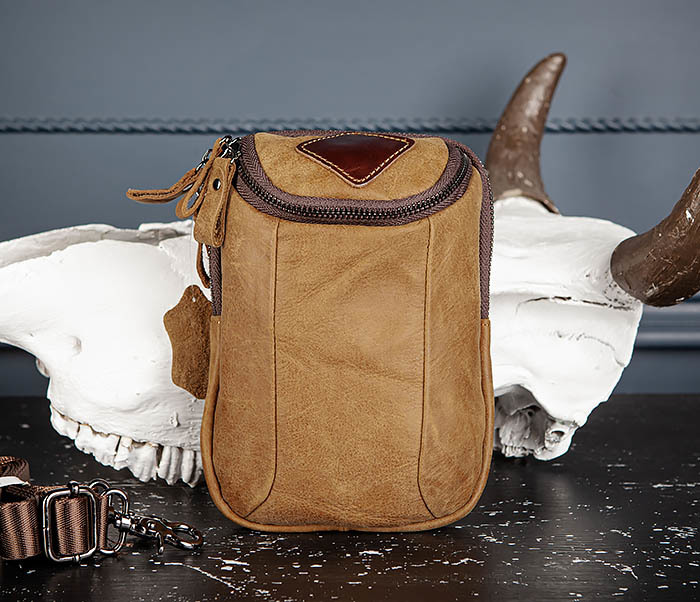 BAG517-2 Поясная сумка из натуральной кожи песочного цвета фото 02