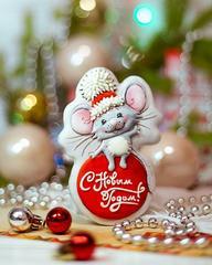 Мышка на шаре трафарет для пряника, мастики, печенья
