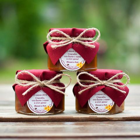 Бонбоньерка с медом на свадьбу, 140 грамм
