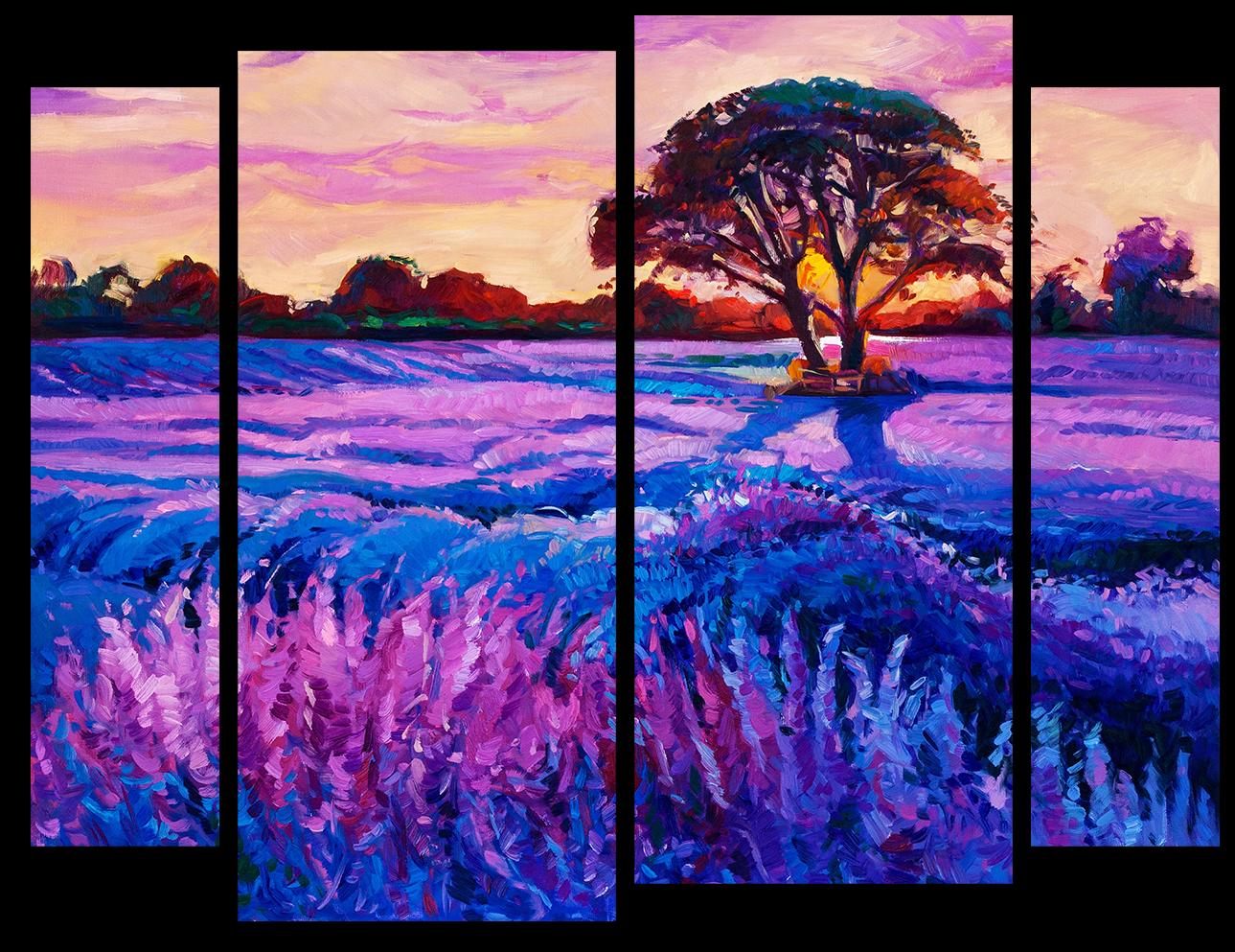 """Природа Модульная картина """"Лавандовое поле"""" М998.png"""