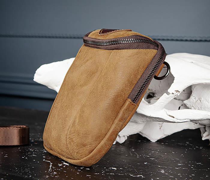 BAG517-2 Поясная сумка из натуральной кожи песочного цвета фото 03