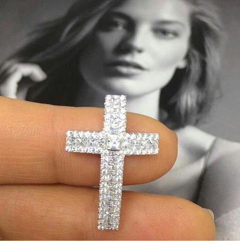 12047- Крестик из серебра микроцирконами